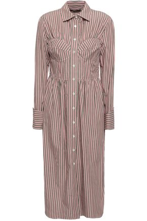 ALEXACHUNG Striped cotton-poplin midi shirt dress