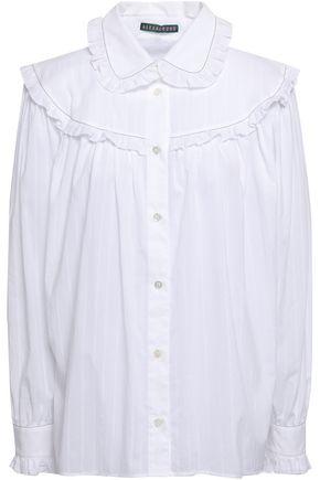 ALEXACHUNG Ruffle-trimmed cotton-gauze shirt