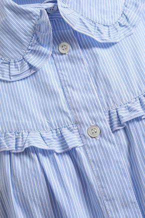 ALEXACHUNG Ruffle-trimmed striped cotton-poplin shirt