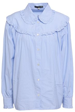 ALEXACHUNG Ruffle-trimmed striped cotton-poplin shirt