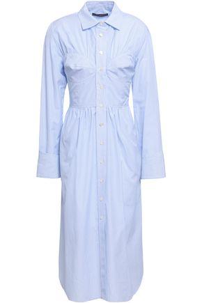 ALEXACHUNG Striped cotton-poplin midi shirt dress