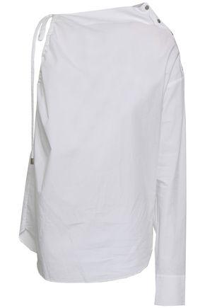 ROBERT RODRIGUEZ One-shoulder button-detailed cotton-poplin blouse