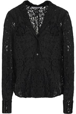 ROBERT RODRIGUEZ Sequin-trimmed cotton-blend lace shirt