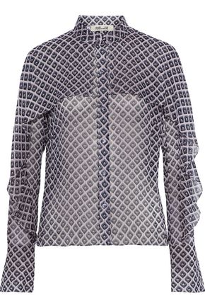 DIANE VON FURSTENBERG Layered printed silk-georgette blouse