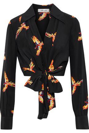 DIANE VON FURSTENBERG Tie-front cropped floral-print silk blouse