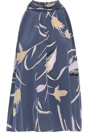 DIANE VON FURSTENBERG Tie-back printed silk crepe de chine top