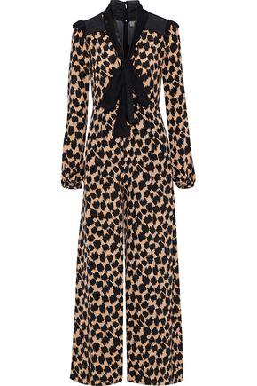 DIANE VON FURSTENBERG Pussy-bow chiffon-paneled printed silk jumpsuit