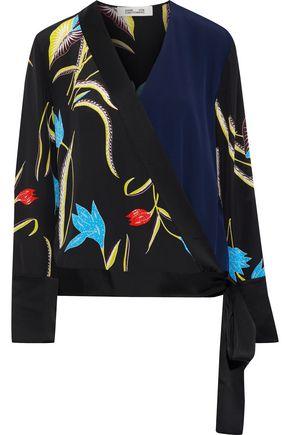 DIANE VON FURSTENBERG Paneled silk-satin wrap blouse