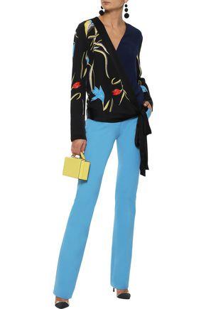 DIANE VON FURSTENBERG Paneled floral-print silk wrap blouse