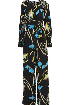 DIANE VON FURSTENBERG Cutout floral-print silk jumpsuit
