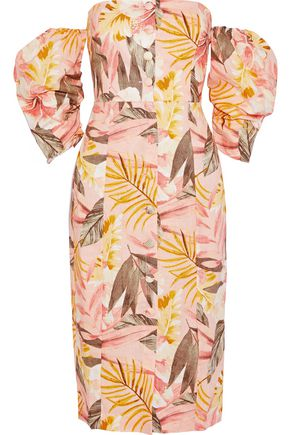 JOIE Seldy off-the-shoulder floral-print linen dress