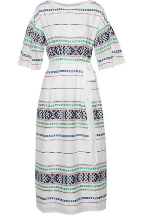 JOIE Lilianaly belted embroidered cotton-gauze midi dress