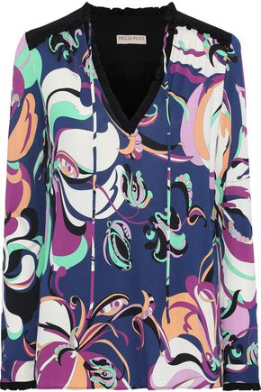 EMILIO PUCCI Ruffle-trimmed printed stretch-jersey blouse