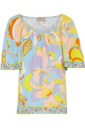 EMILIO PUCCI Gathered printed crepe blouse
