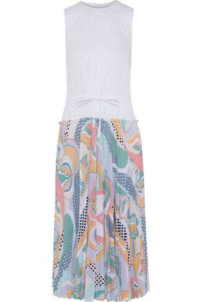 EMILIO PUCCI Perforated poplin and printed crepe de chine midi dress