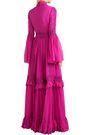 COSTARELLOS Guipure lace-trimmed ruffled silk-chiffon gown