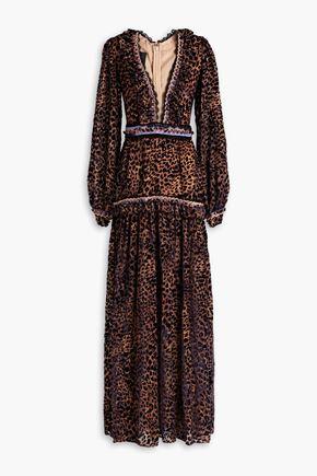 COSTARELLOS Ruffle-trimmed leopard-print devoré-chiffon gown