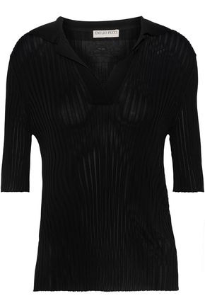 EMILIO PUCCI Embroidered ribbed-knit top
