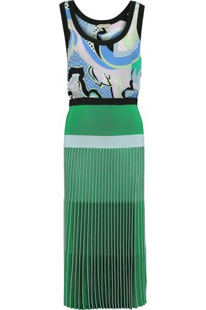 EMILIO PUCCI Printed silk crepe de chine and knitted maxi dress