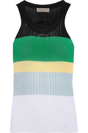 EMILIO PUCCI Color-block ribbed-knit tank