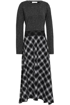 ROBERT RODRIGUEZ Checked wool-blend and metallic knitted midi dress