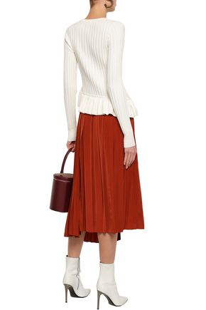 ROBERT RODRIGUEZ Asymmetric ruffle-trimmed ribbed-knit sweater