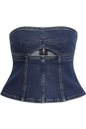 ALEXACHUNG Cutout denim bustier top