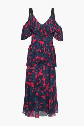 JASON WU Cold-shoulder floral-print georgette peplum midi dress