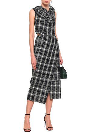 JASON WU Smocked cutout checked cotton-blend midi dress