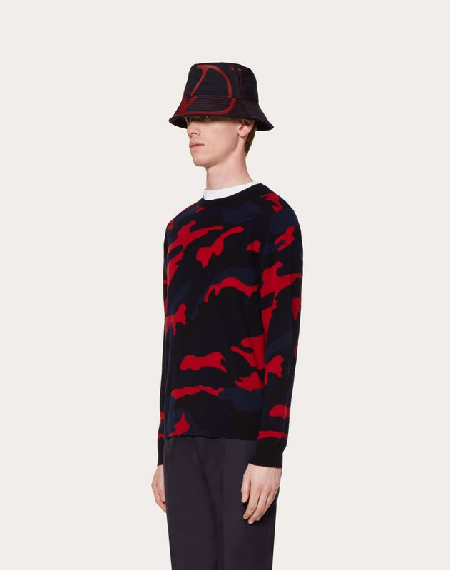 CAMOUFLAGE CASHMERE CREW-NECK SWEATER