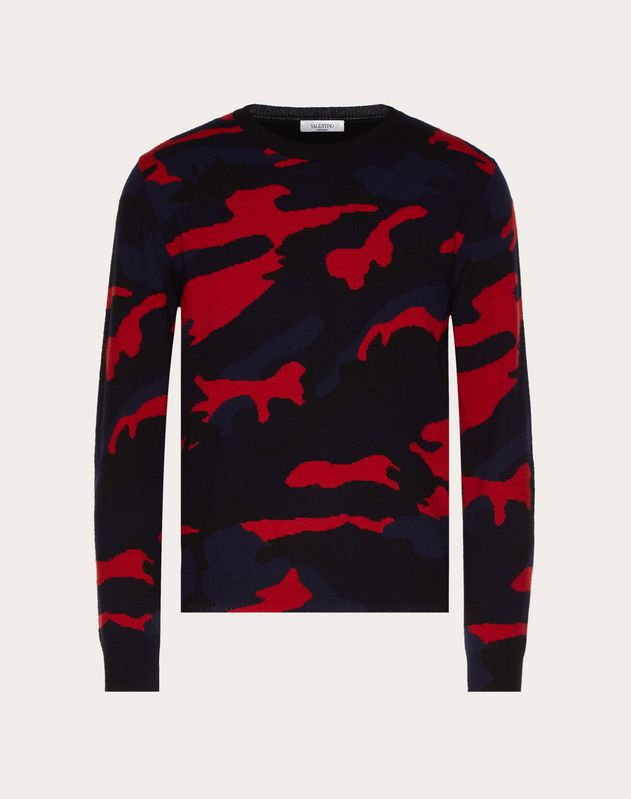 CAMOUFLAGE CREW-NECK SWEATER