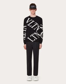CREW-NECK JUMPER WITH VLTN MACROGRID