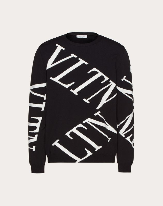 CREW-NECK SWEATER WITH VLTN MACROGRID