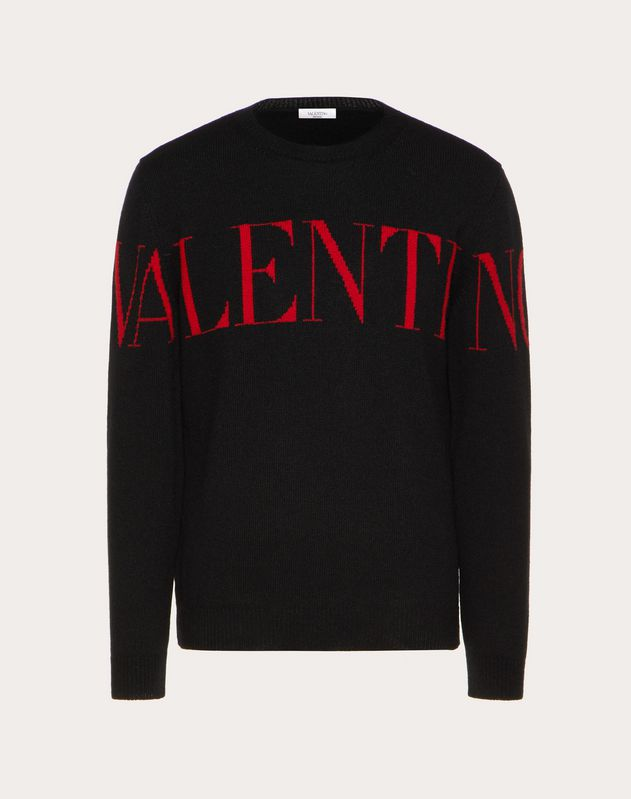 CREW-NECK JUMPER WITH VALENTINO PRINT