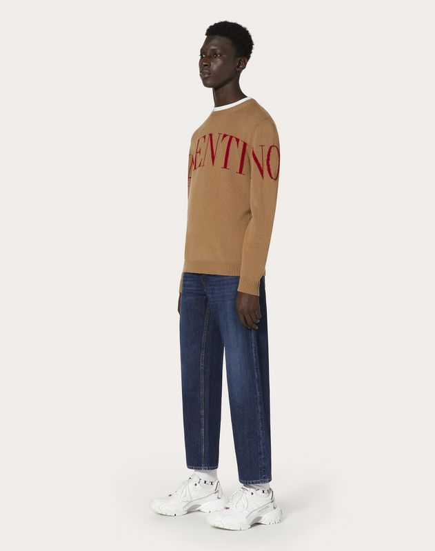 CREW-NECK SWEATER WITH VALENTINO PRINT