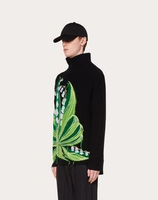 HIGH NECK JUMPER WITH LILY V EMBROIDERY