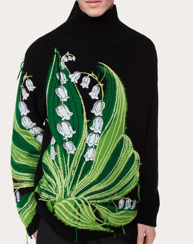 HIGH NECK SWEATER WITH LILY V EMBROIDERY