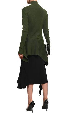 ADEAM Ribbed-knit silk-blend turtleneck top
