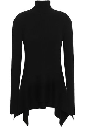 ADEAM Ribbed-knit silk-blend turtleneck top
