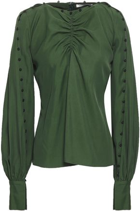 ADEAM Ruched twill blouse