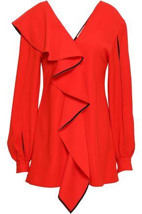 ADEAM Cutout ruffled washed-crepe blouse