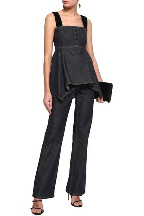 ADEAM Velvet-trimmed draped denim top