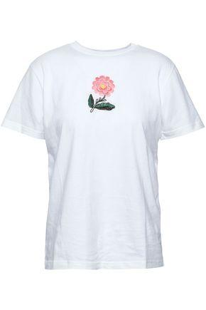 ALEXACHUNG Embroidered cotton-jersey T-shirt