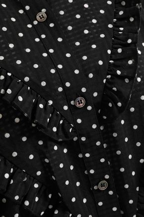ALEXACHUNG Ruffled polk-dot jacquard shirt