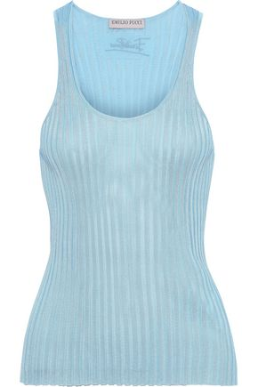 EMILIO PUCCI Emrboidered ribbed-knit tank