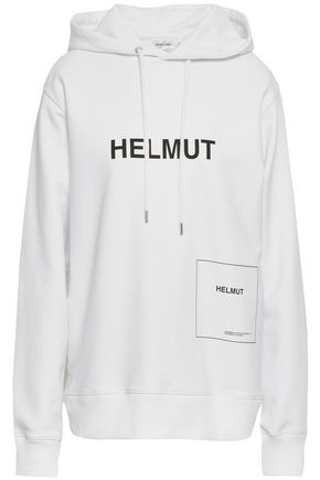 HELMUT LANG Printed cotton-blend hooded sweatshirt