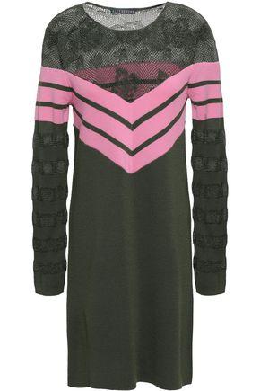 ALEXACHUNG Paneled crochet-knit and striped wool-blend mini dress