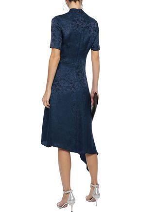 IRIS & INK Tiana asymmetric silk-blend jacquard midi dress