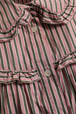 ALEXACHUNG Ruffled striped cotton-poplin shirt