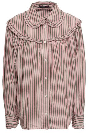 ALEXACHUNG Ruffled striped cotton-poplin shirt